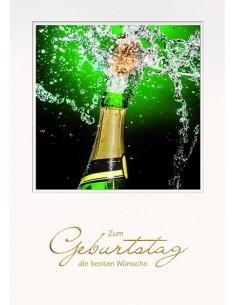 Geburtstagskarte- knallender Champagner Korken
