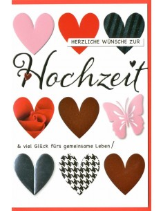 Hochzeitskarte - Herzen unterschiedliche Motive
