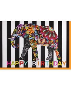 Geburtstagskarte - farbiger Elefant mit Glitzer