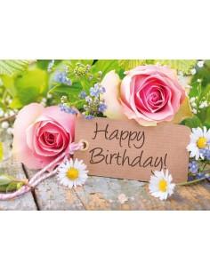 Geburtstagskarte-Rosen mit Gänseblümchen