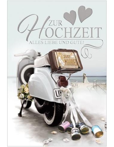 Hochzeitskarte-Mofa-Justmaried