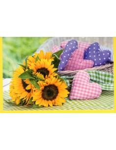 Sonneblume mit Herzkissen