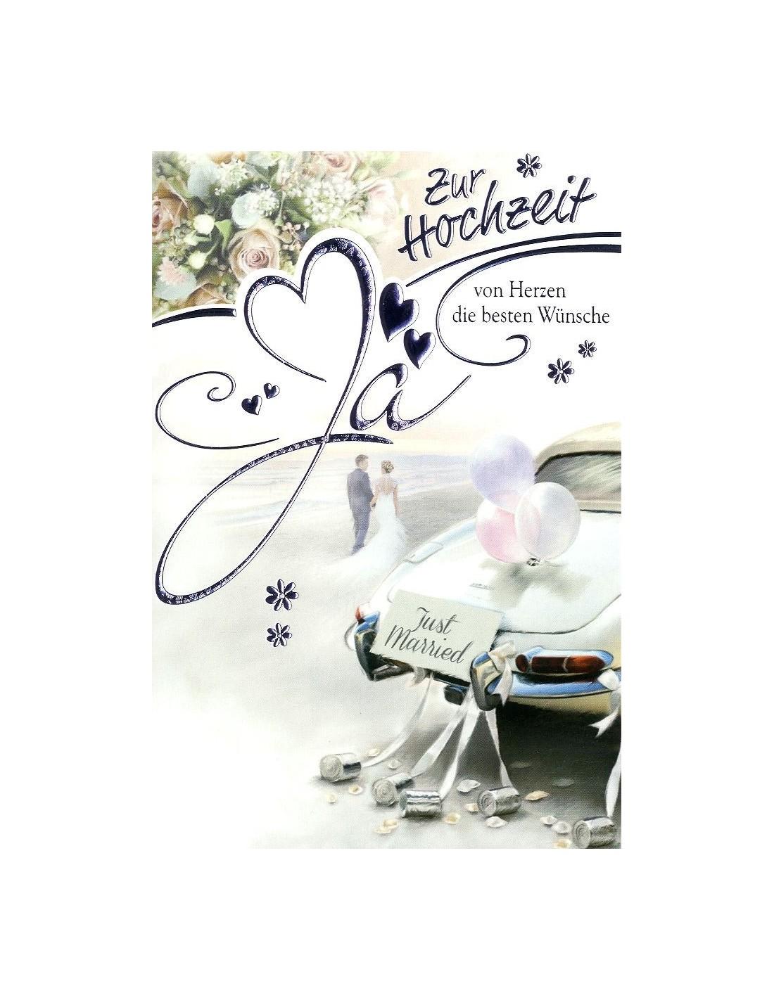 Hochzeitskarte - von Herzen die besten Wünsche