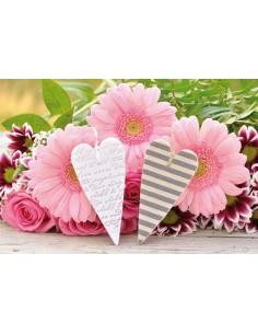 rosa Blumen mit Herzen