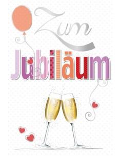 Jubiläumskarte-Champagner Gläser