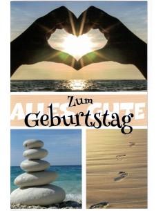 Geburtstagskarte - Steinturm - Fussabdruck im Sand - Herz - Sonne