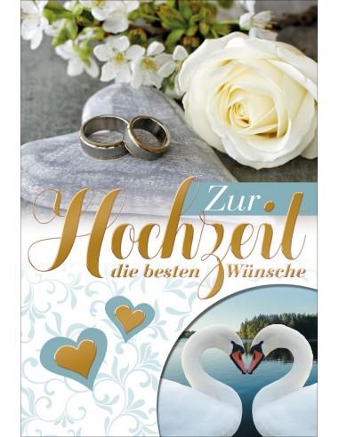 Hochzeitskarte - Eheringe auf Steinherzen, weisse Rose und Schwan