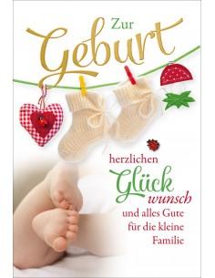 Geburtskarte - Babyfüsse & Babysocke - Zum Geburt herzlichen Glückwunsch und alles Gute für die kleine Familie