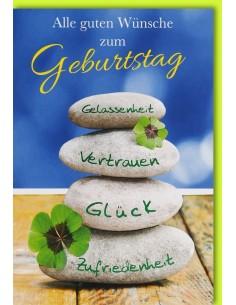 Geburtstagskarte - Steinturm - Kleeblatt - Alle guten Wünsche zum Geburtstag