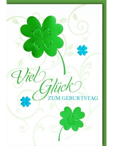 Geburtstagskarte - Kleeblatt - Viel Glück zum Geburtstag