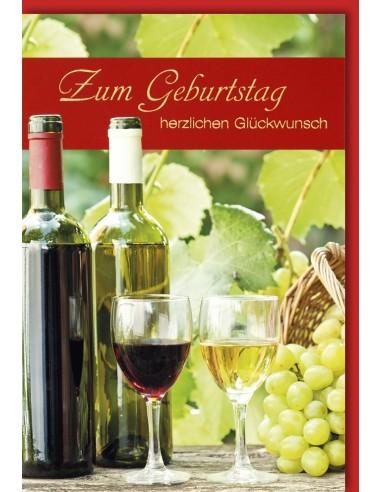 Geburtstagskarte - Rot- und Weisswein Trauben und 2 Gläser
