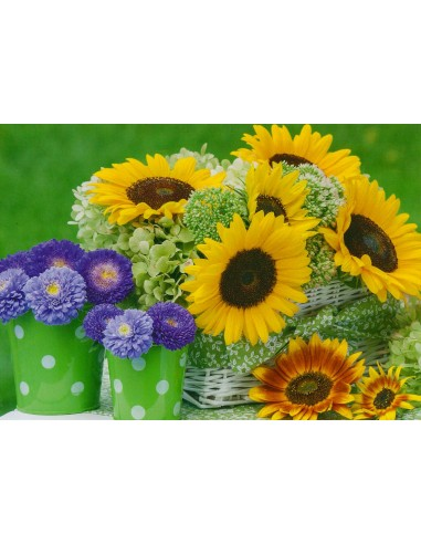 Glückwunschkarten ohne Text - Sonnenblumen im Korb