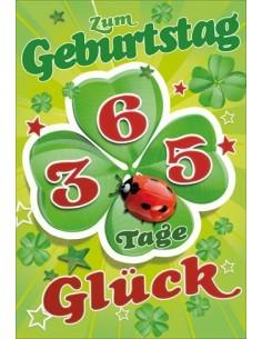 Geburtstagskarte - Kleeblatt Marienkäfer 365 Tage