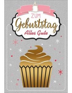 Geburtstagskarte - Zum Geburtstag alles Gute - Cupcake goldig
