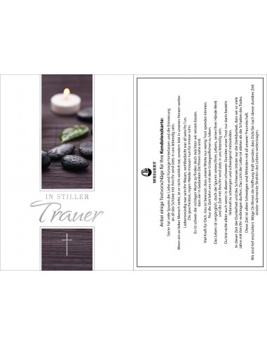Trauerkarte - Steine mit Kerze