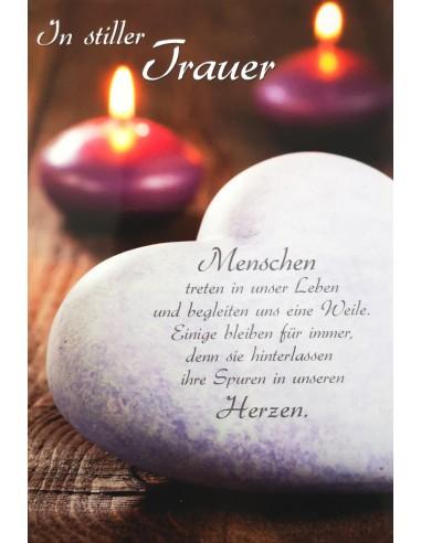 Trauerkarte - Steinherz mit Kerze