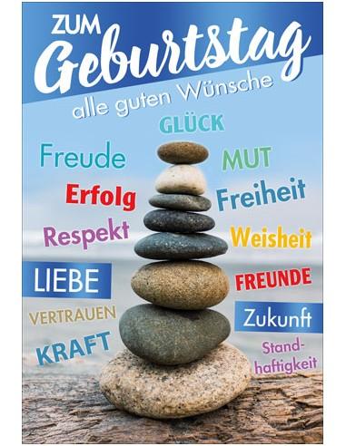 Geburtstagskarte - Steinturm mit...