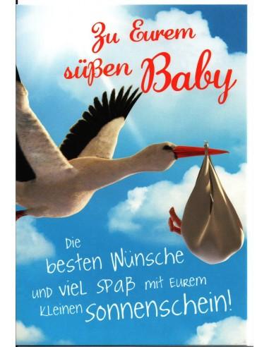 Geburtstkarte-Storch mit Baby