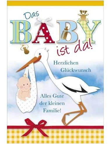 Geburtskarte-Storch mit Baby