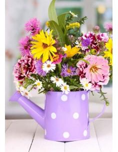 Glückwunschkarte ohne Text - Blumenstrauss in Spritzkanne